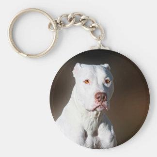 White American Pitbull Terrier Rescue Dog Key Ring