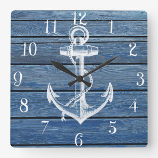 White Anchor And Vintage Blue Wood Wall Clocks