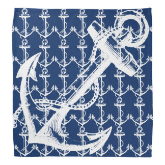 White Anchor Navy Blue Bandana
