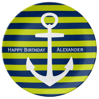White Anchor on Navy and Lime Happy Birthday Porcelain Plate