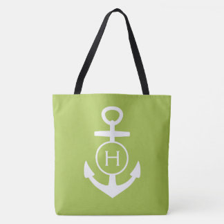 White Anchor on New Sage Green Monogram Tote Bag