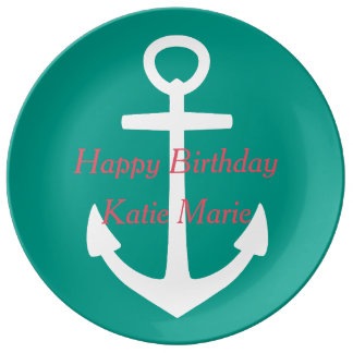 White Anchor on Tropical Blue Green Happy Birthday Porcelain Plates
