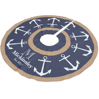 White Anchors and Brown Rope Nautical Family Name Brushed Polyester Tree Skirt