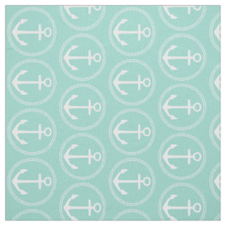 White Anchors and Rope on Cool Aqua Fabric