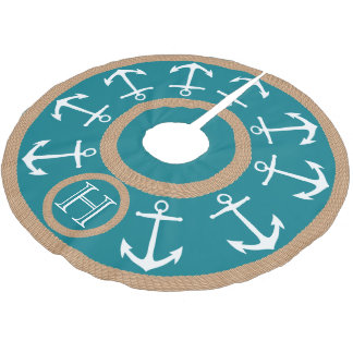 White Anchors and Rope Teal Nautical Monogram Brushed Polyester Tree Skirt