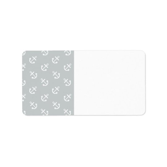 White Anchors Glacier Grey Background Pattern Label