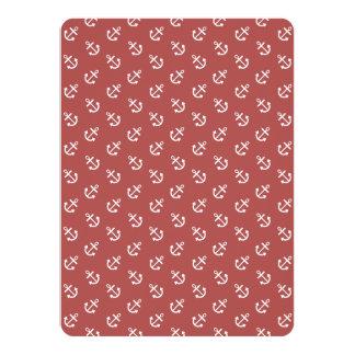 White Anchors Marsala Background Pattern 14 Cm X 19 Cm Invitation Card