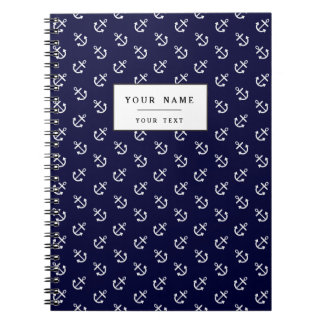 White Anchors Navy Blue Background Pattern Spiral Notebook