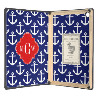 White Anchors Navy Blue, Red 3 Initial Monogram iPad Air Cover