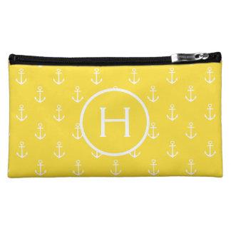 White Anchors on Banana Yellow Monogram Cosmetic Bag
