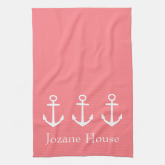White Anchors on Coral Pink Personalized Tea Towel