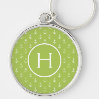 White Anchors on New Sage Green Monogram Key Ring