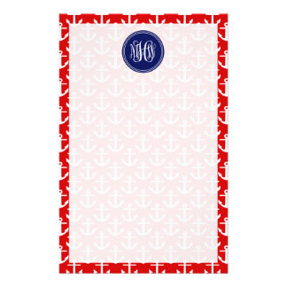 White Anchors on Red, Navy Blue 3 Initial Monogram Customized Stationery