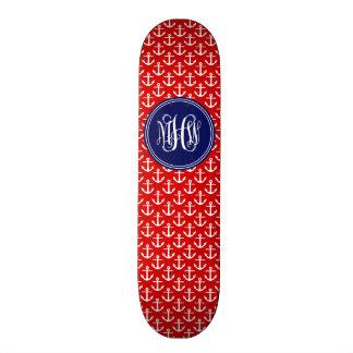 White Anchors on Red, Navy Blue 3 Initial Monogram Skateboard Decks