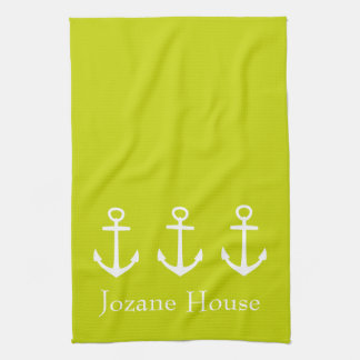 White Anchors on Tropical Lime Green Personalized Tea Towel