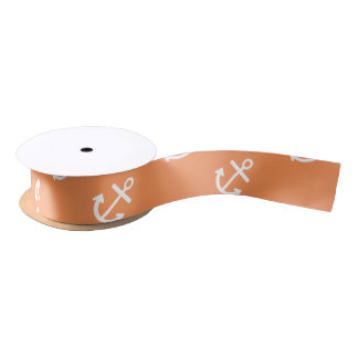 White Anchors Tangerine Background Pattern Satin Ribbon
