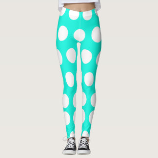 White and Aqua Polka Dots Leggings