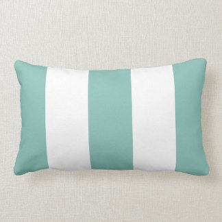 White and Aqua Stripe Pillow