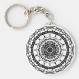 White and Black Abstract Keychain
