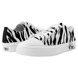 white And Black Animal Tigers Stripes Low Tops