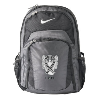 White and Black Awareness Ribbon Angel Backpack
