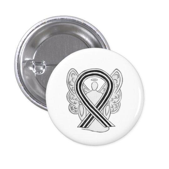 White and Black Awareness Ribbon Angel Pin