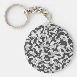 White and Black Camo pattern Basic Round Button Key Ring