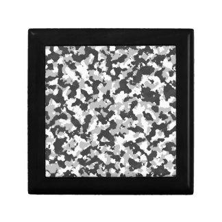 White and Black Camo pattern Small Square Gift Box