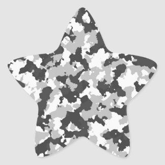 White and Black Camo pattern Star Sticker