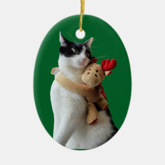 White and Black Cat & Reindeer Christmas Toy Ceramic Ornament
