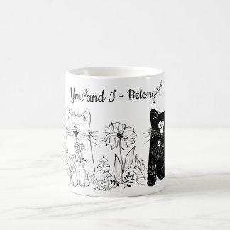 White and black cats coffee mug