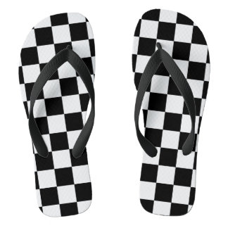 White and Black Checkered | DIY Background Color Thongs