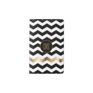 White and Black Chevron Pattern  | Monogram Pocket Moleskine Notebook