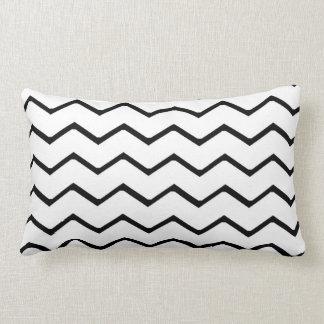 White and Black Chevron Zigzag Pillow