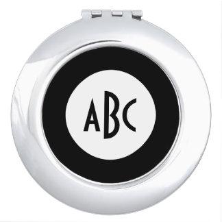 White and Black Circle Monogram Travel Mirrors