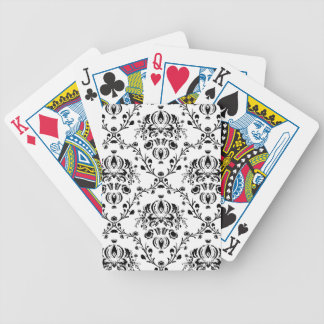 White and Black Damask Bicycle Playing Cards