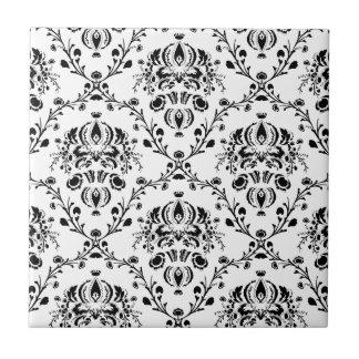 White and Black Damask Ceramic Tile