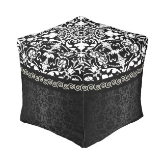 White and Black Damask Design Pouf