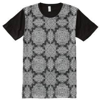 White and Black Damask Pattern All-Over Print T-Shirt