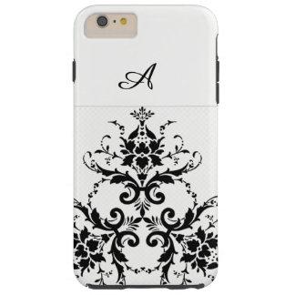 White and  black damask phone case