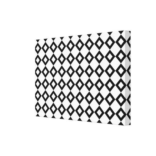 White and Black Diamond Pattern Gallery Wrap Canvas