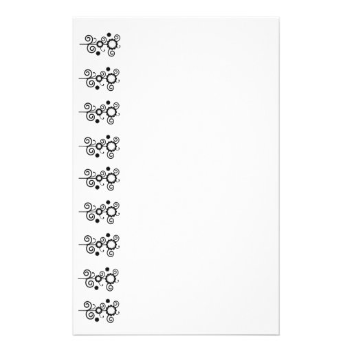 White and black digital flowers, Floral Stationery