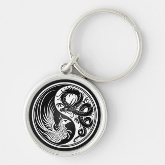White and Black Dragon Phoenix Yin Yang Silver-Colored Round Key Ring