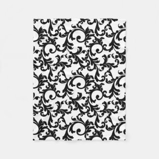 White and Black Elegant Damask Print Fleece Blanket