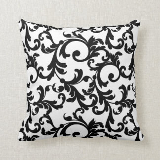 White and Black Elegant Damask Throw Pillow