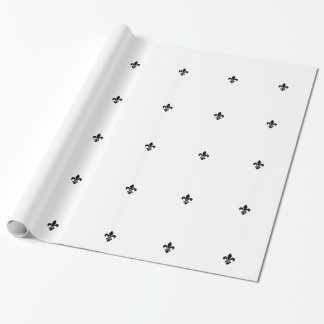 White and Black Fleur De Lis Wrapping Paper