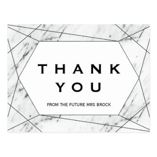 White and Black Geometric Marble Thank You Postcard