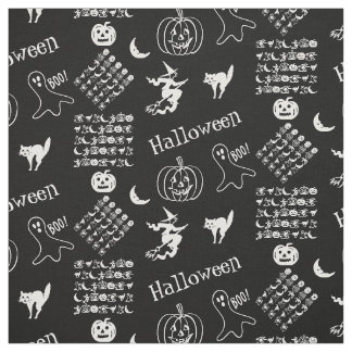 White and Black Halloween Fun Font Art Collage Fabric