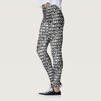 White and Black Halloween Fun Font Art Pattern Leggings