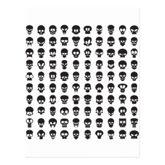 White and Black Halloween Skulls Postcard